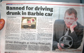 40 year old father arrested for driving little Barbie car at 4 MPH drunk.